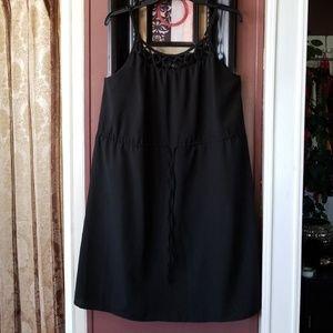Black Lattice Trim Dress